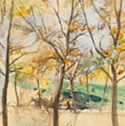 Trees In The Bois De Boulogne Art Print