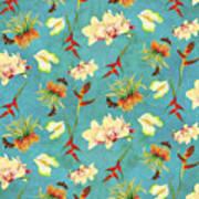 Tropical Island Floral Half Drop Pattern Art Print