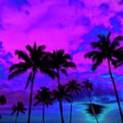 Tropical Palm Trees Silhouette Sunset Or Sunrise Art Print