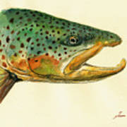 Trout watercolor painting Art Print