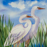 Twin Egrets Art Print