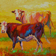 Two Cows Art Print by Marion Rose
