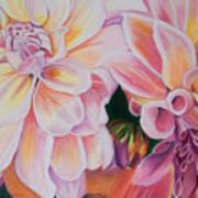Two Dahlias Art Print by Lucinda  Hansen