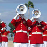 U.s. Marine Corps Drum And Bugle Corps Print by Stocktrek Images