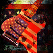 Usa Strat Guitar Music Art Print