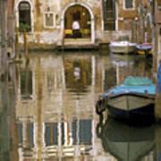 Venice Restaurant On A Canal  Art Print