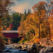 Vermont Covered Bridge Over The Dog River Art Print