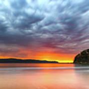 Vibrant Cloudy Sunrise Seascape Art Print