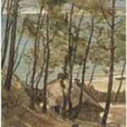 View From A Hill On A House On The Gulf Of Arcachon, August Allebe 1876 Art Print