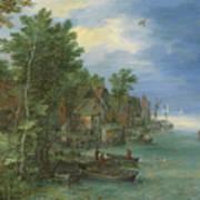 View Of A Village Along A River Art Print