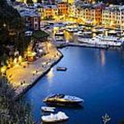 View Of The Harbour At Dusk  Portofino Art Print