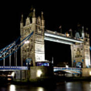 View Of The River Thames And Tower Bridge At Night Art Print