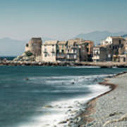 Village And Shingle Beach Of Erbalunga In Corsica Art Print