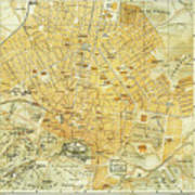 Vintage Map Of Athens Greece - 1894 Art Print