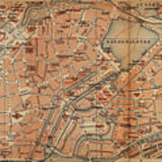 Vintage Map Of Hamburg Germany - 1910 Art Print