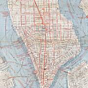 Vintage Map Of Lower Manhattan  Art Print