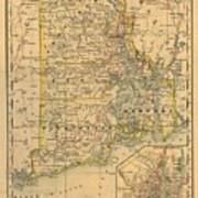 Vintage Map Of Rhode Island  Art Print