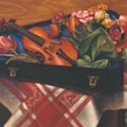 Violin Case And Flowers Art Print
