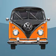 Volkswagen Type 2 - Black And Orange Volkswagen T 1 Samba Bus Over Blue Art Print by Serge Averbukh