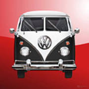 Volkswagen Type 2 - Black And White Volkswagen T 1 Samba Bus On Red  Art Print