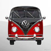 Volkswagen Type 2 - Red And Black Volkswagen T 1 Samba Bus On White  Art Print