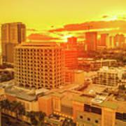 Waikiki City Sunset Art Print
