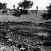 Water Hole Dead Cattle Cowboys  Drought Tohono O'odham Indian Reservation Near Sells Az 1969 Art Print