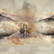 Watercolor Painting Of Beautiful Romantic Image Of Swans On Mist Art Print