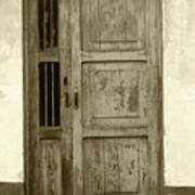 Weathered Gray Door In A Wall Art Print