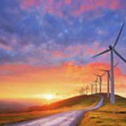 wind turbines in Oiz eolic park Art Print
