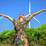 Wind Turbines Woman Art Print