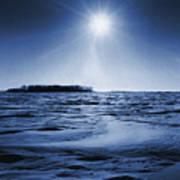 Winter Setting Sun Blue Toned Art Print