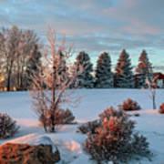 Winter Sunset In Weyburn Art Print