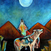 Wolves Howling At The Moon Art Print by Pilar  Martinez-Byrne