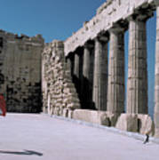 Woman At The Parthenon In Athens Art Print