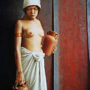 Woman Carrying Vases Art Print
