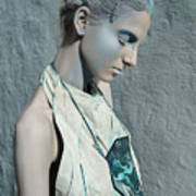 Woman In Ash And Blue Body Paint Art Print
