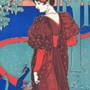 Woman With Peacocks Art Print
