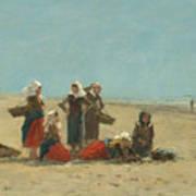 Women On The Beach At Berck Art Print
