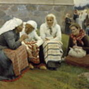 Women Outside The Church At Ruokolahti Art Print