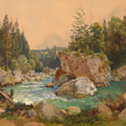 Wooded River Landscape In The Alps Art Print