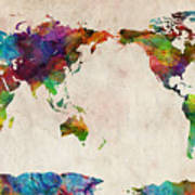 World map urban watercolor pacific digital art by michael tompsett world map urban watercolor pacific poster gumiabroncs Images