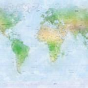 World Map Watercolor Art Print by Michael Tompsett