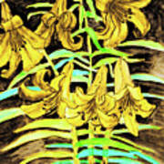 Yellow Lilies, Hand Drawn Painting Art Print