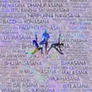 Yoga Asanas / Poses Sanskrit Word Art  Art Print