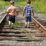 Young Boys On Railway Tracks Art Print