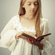 Young Girl Reading A Book Art Print