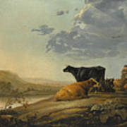 Young Herdsmen With Cows Art Print