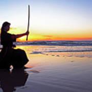 Young Samurai Women With Japanese Katana Sword At Sunset On The Beach Art Print