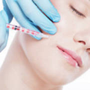 Young Woman Having Botox Face Injections. Art Print